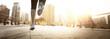 canvas print picture - Läuferin in einer Stadt