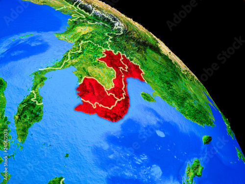 Foto  Indochina on planet Earth from space with country borders