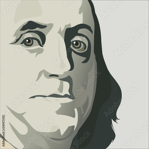 Close up view of Ben Franklin in this stylized drawing in muted colors Canvas Print