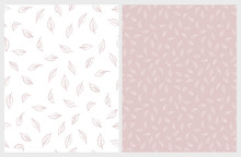 Delicate Hand Drawn Floral Vector Pattern. Light Pink And White Leaves. Pink And White Background. Subtle Pastel Color Drawing.  Lovely Repeatable Pattern.