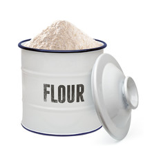 White Enamel Flour Canister Including Clipping Path