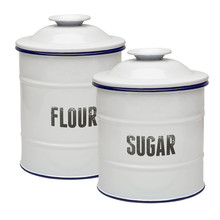 White Enamel Canisters In Flou...