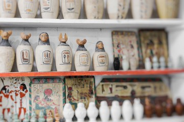 Egyptian traditional culture souvenirs. Selective Focus.