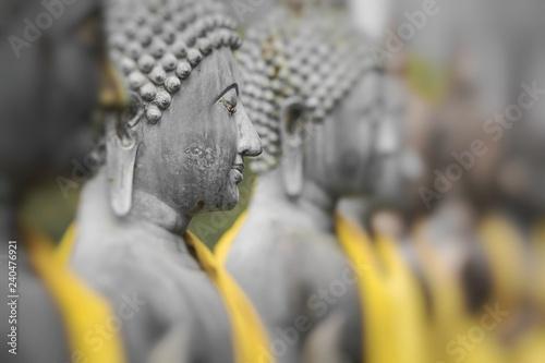 Foto op Canvas Historisch mon. Buddha Statues in Seema Malaka Temple, Colombo, Sri Lanka. Selective Focus.