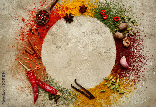 Assortment of natural spices.Top view with copy space. Canvas Print