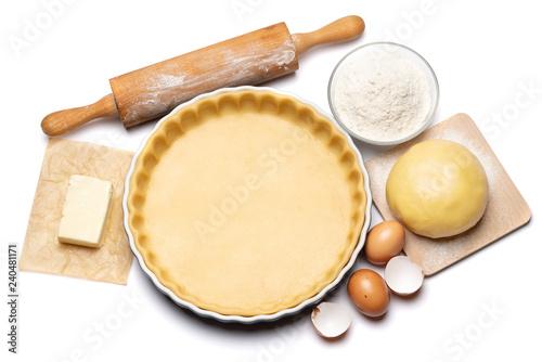 Fotografie, Obraz shortbread dough for baking quiche tart and ingredients in baking form