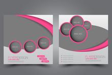 Square Flyer Design. A Cover For Brochure.  Website Or Advertisement Banner Template. Vector Illustration. Pink Color.