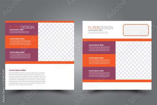 Obraz Square flyer design. A cover for brochure.  Website or advertisement banner template. Vector illustration. Red and orange color. - fototapety do salonu