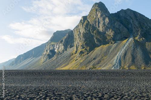 Foto auf AluDibond Khaki Hvalnes lava beach landscape, east Iceland landmark