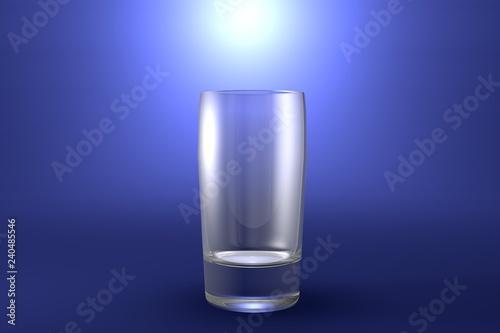 Fotografía  3D illustration of alcohol free drinks ordinary glass on light blue highlighted