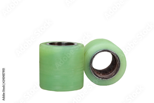 Fotografía  Wheel with  polyurethane bandage for warehouse loader isolated