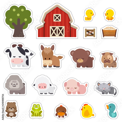 Photo Stickers with domestic animals, Colorful set of cute farm animals, Farm animals