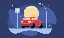 Overnight Parking Vector Illus...