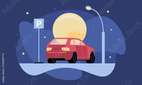 Montage in der Fensternische Cartoon cars Overnight parking vector illustration with red car near parking sign by moonlight and lantern for web and printing.