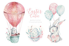 Hand Drawn Watercolor Happy Easter Set With Bunnies Design. Rabbit Bohemian Style, Isolated Eggs Illustration On White. Cute Baby Bunny Rabbit Illustration For Nursery Design