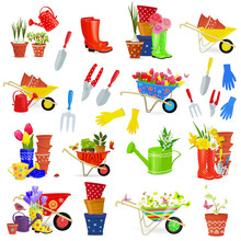 Colorful Collection Of Gardening Tools And Equipments On White Background For Your Design