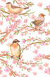 fancy seamless texture with branches of flowering almond and cute birds. watercolor painting