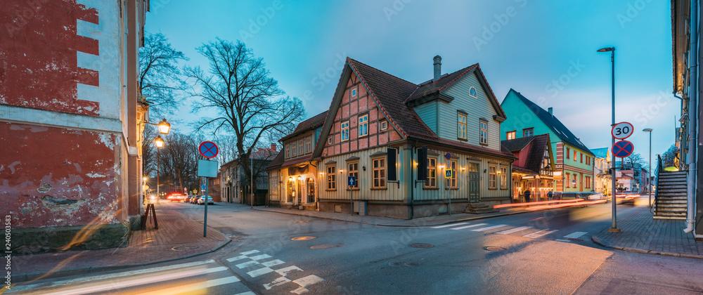 Parnu, Estonia. Night View Of Kuninga Street With Old Buildings,
