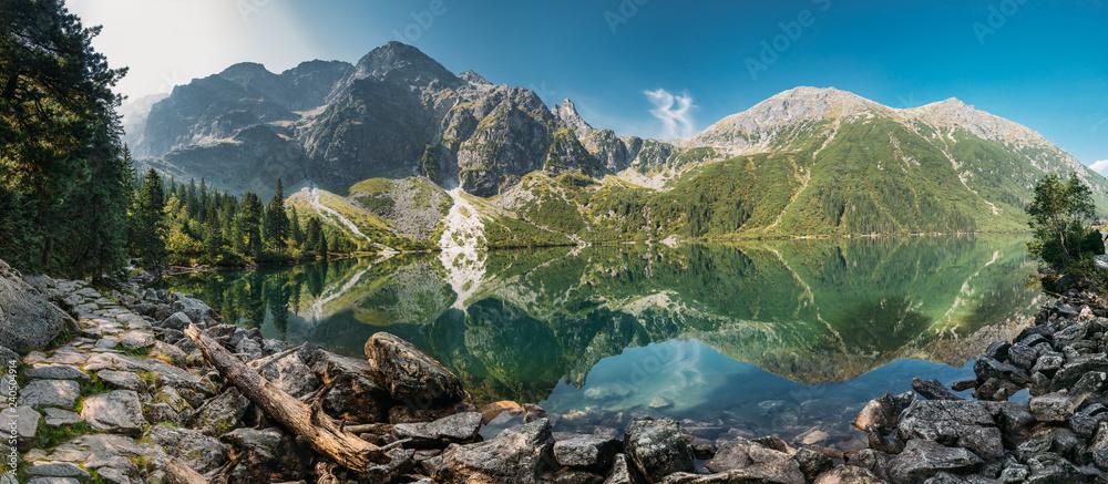 Fototapety, obrazy: Tatra National Park, Poland. Panorama Famous Mountains Lake Mors