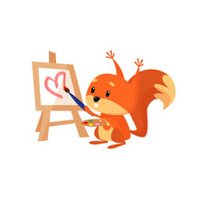 Cute Squirrel Painting Pink He...