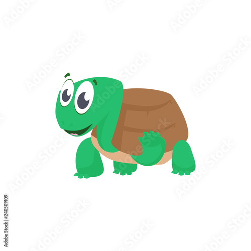 Cheerful Cartoon Turtle Waving Paw And Greeting Cute Character