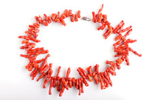 Red Coral Beads Isolated On Wh...