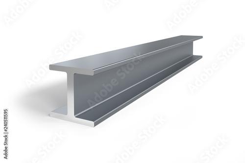Carta da parati Single steel I-beam isolated on white background -  3D rendering