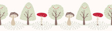 Cute Cartoon Mushrooms And Happy Trees. Hand Drawn Seamless Doodle Vector Border. Nature Banner Illustration Of Childish Fungi Forest And Toadstool Fall Woodland For Kids
