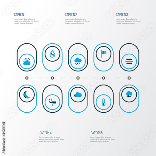 Weather icons colored set with drizzle, lightning, drop and other fog