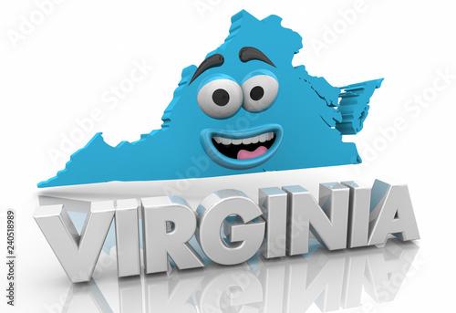 Fotografie, Obraz  Virginia VA State Map Cartoon Face Word 3d Illustration