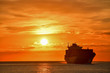 canvas print picture - Sunrise - Container ship entering Genoa Port December 2018