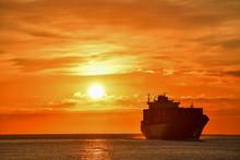 Sunrise - Container Ship Entering Genoa Port December 2018