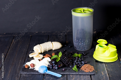 Shaker and products. Cooking fresh in a shaker.
