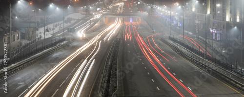 Photographie  night city freeway, long exposure, Almaty, Kazakhstan