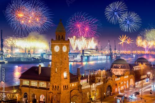 Photo  Fireworks in Hamburg Harbor, Germany, at the pier Landungsbruecken