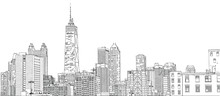 Hand Drawn Vector Illustration. Close Up Of Skyscrapers And Buildings In The Famous Chicago Skyline. Detailed Ink Look.