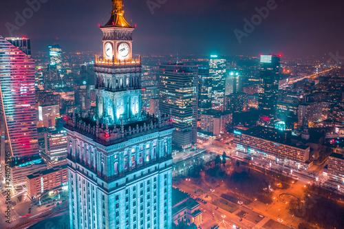 Fototapeta Warszawa z lotu ptaka obraz na płótnie