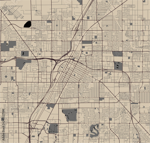 Fotomural map of the city of Las Vegas, Nevada, USA