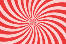 Vector Simple Pink Background. Spiral Stripes In Retro Pop Art Style