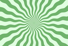 Vector Simple Green Background. Spiral Stripes In Retro Pop Art Style