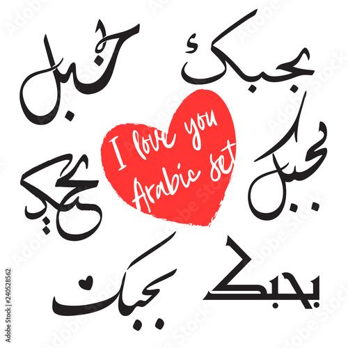I love you set  Arabic calligraphy script  Translation - I love you