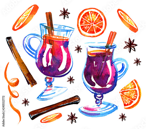 Fotografie, Obraz Glasses with mulled wine, oranges and cinnamon