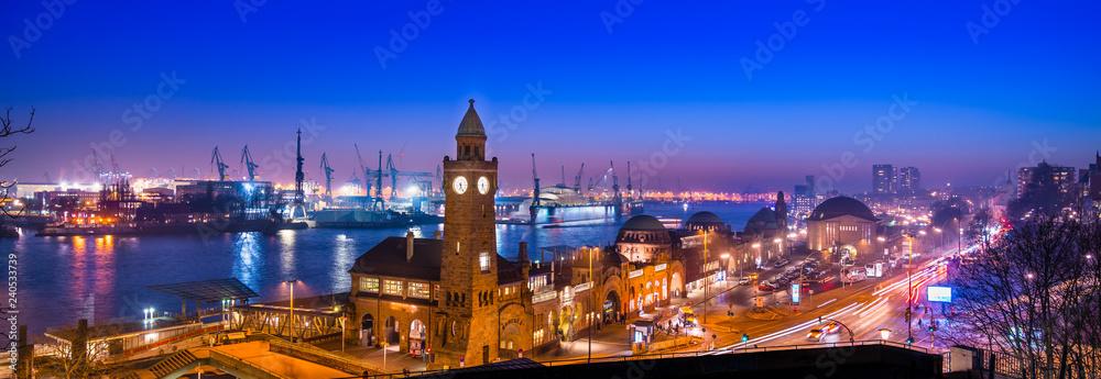 Fototapety, obrazy: Panoramic view of the pier Landungsbruecken (German: Landungsbrücken) and Hamburg Harbor, Germany, at dusk.