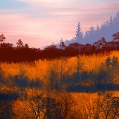 Panel Szklany Podświetlane Do biura 3D illustration. Beautiful landscape during sunset.