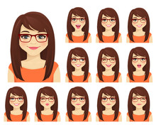Girl In Glasses With Different...