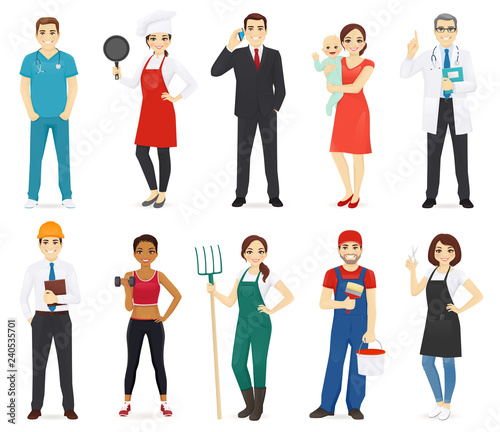 Fotografía  People different profession collection set isolated vector illustration