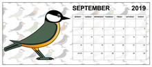 September 2019 Calendar On English With A Coal Tit In The Middle