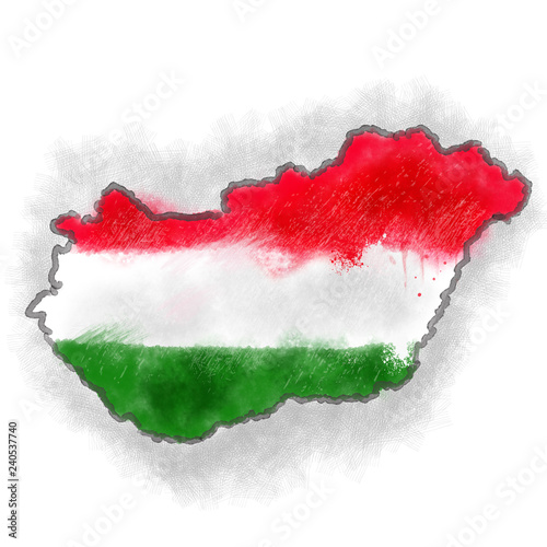 Photo Hungary map with flag