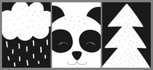 Ð¡ollection Of Cards, Banners, Posters For Children. Vector Black And White Hand-drawn Scandinavian Illustration With Panda, Trees, Rain. Images For Baby Shower, Prints, Textile, Nursery, Clothes