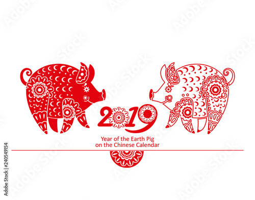 Happy Chinese new year 2019, the year of earth pig  Vector card with